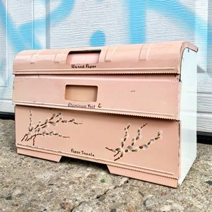 Vintage 1950s Pink Pussy Willow Colorware Kitchen Roll Dispenser